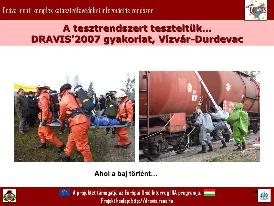 14 A tesztrendszert teszteltük… DRAVIS'2007 gyakorlat, Vízvár-Durdevac Ahol a baj történt…