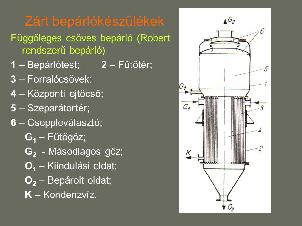 Zárt bepárlókészülékek Függőleges csöves bepárló (Robert rendszerű bepárló) 1 – Bepárlótest; 2 – Fűtőtér; 3 – Forralócsövek: 4 – Központi ejtőcső; 5 – Szeparátortér; 6 – Cseppleválasztó; G 1 – Fűtőgőz; G 2 - Másodlagos gőz; O 1 – Kiindulási oldat; O 2 – Bepárolt oldat; K – Kondenzvíz.