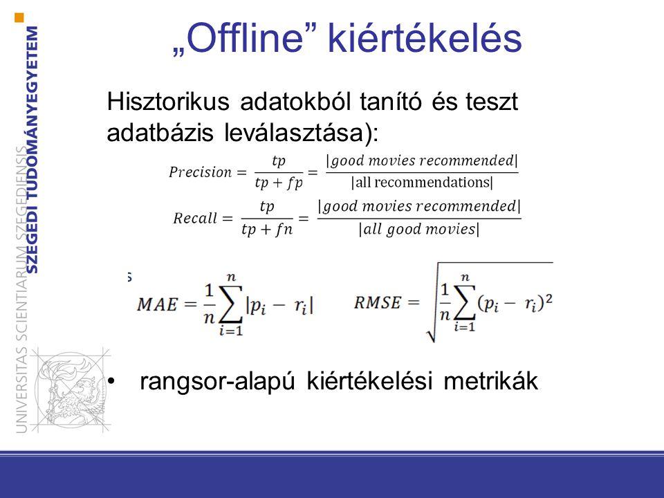 """""""Offline"""" kiértékelés Hisztorikus adatokból tanító és teszt adatbázis leválasztása): •rangsor-alapú kiértékelési metrikák"""