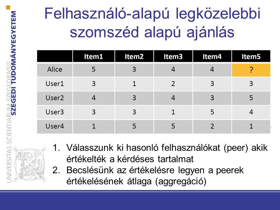 Felhasználó-alapú legközelebbi szomszéd alapú ajánlás 1.Válasszunk ki hasonló felhasználókat (peer) akik értékelték a kérdéses tartalmat 2.Becslésünk