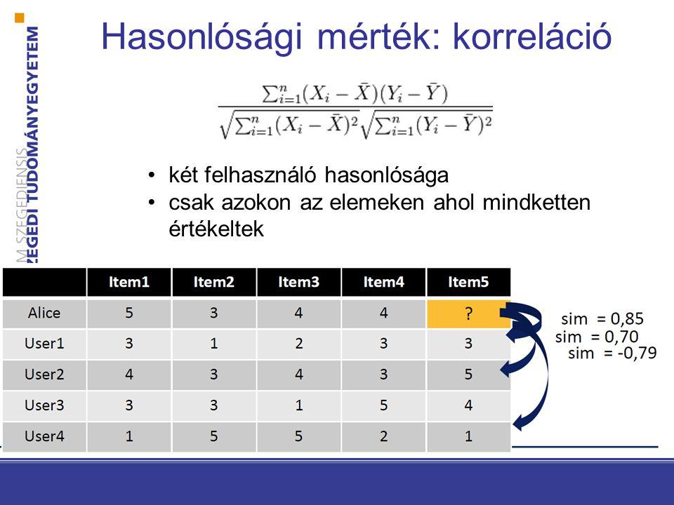Hasonlósági mérték: korreláció •két felhasználó hasonlósága •csak azokon az elemeken ahol mindketten értékeltek