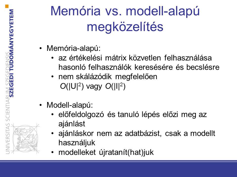 Memória vs. modell-alapú megközelítés •Memória-alapú: •az értékelési mátrix közvetlen felhasználása hasonló felhasználók keresésére és becslésre •nem