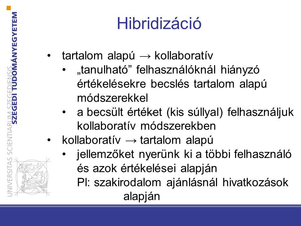 """Hibridizáció •tartalom alapú → kollaboratív •""""tanulható"""" felhasználóknál hiányzó értékelésekre becslés tartalom alapú módszerekkel •a becsült értéket"""
