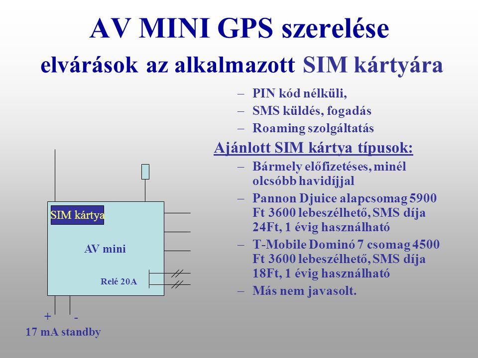 AV MINI GPS szerelése GPS-es riasztó operátori felügyelettel (MABISZ engedélyes) AV mini Gyújtás AC pumpa/gyújtás megszakítás Relé 20A +- 17 mA standb