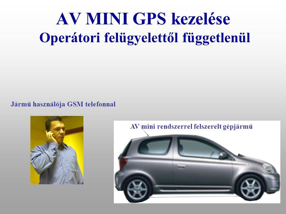 AV MINI GPS szerelése elvárások az alkalmazott SIM kártyára –PIN kód nélküli, –SMS küldés, fogadás –Roaming szolgáltatás Ajánlott SIM kártya típusok: –Bármely előfizetéses, minél olcsóbb havidíjjal –Pannon Djuice alapcsomag 5900 Ft 3600 lebeszélhető, SMS díja 24Ft, 1 évig használható –T-Mobile Dominó 7 csomag 4500 Ft 3600 lebeszélhető, SMS díja 18Ft, 1 évig használható –Más nem javasolt.