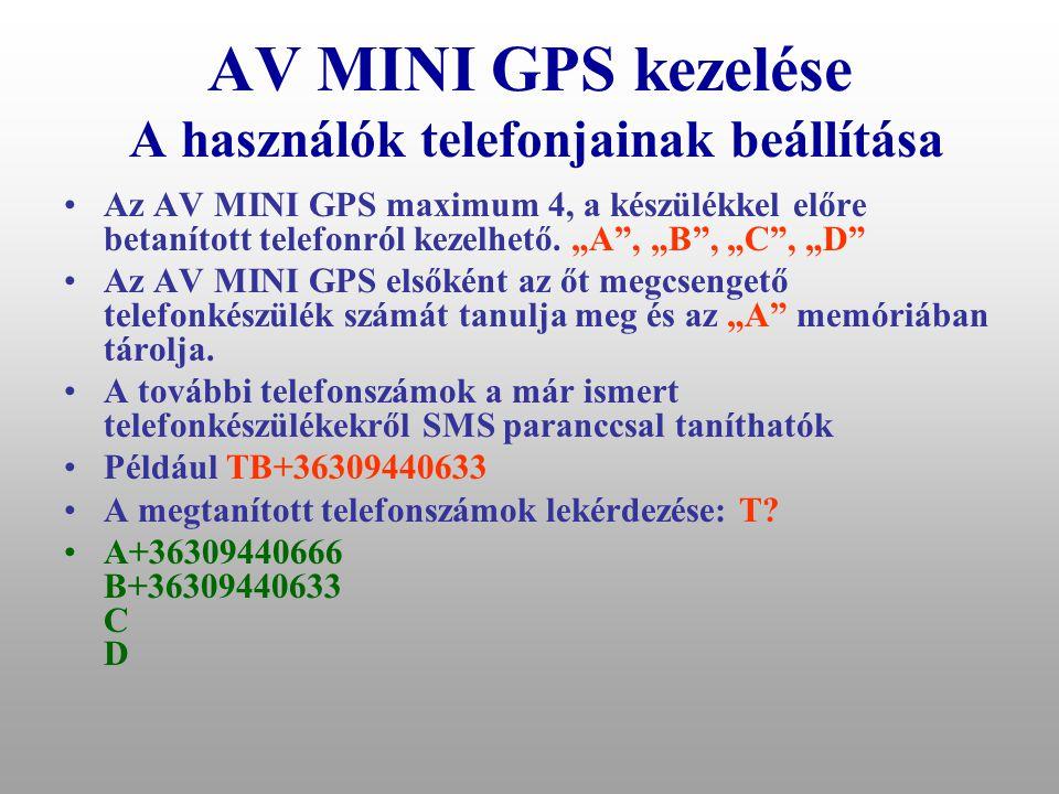 AV MINI GPS kezelése Operátori felügyelettől függetlenül AV mini rendszerrel felszerelt gépjármű Jármű használója GSM telefonnal