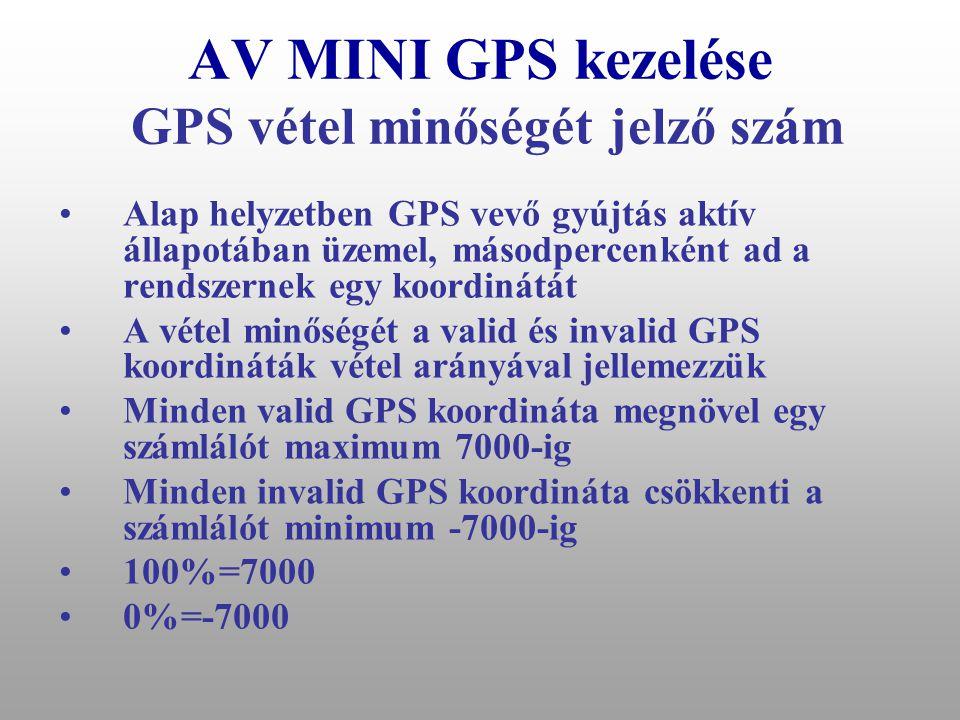 """AV MINI GPS kezelése Működőképességi jelentés értékelése •Ha nem kapom meg a működőképességi jelentést: 1.Járművem tartózkodási helyén nincs GSM térerő 2.SIM kártyámról elfogyott a pénzem: fel kell tölteni 3.""""? parancsra sem válaszol rendszerem meghibásodott: szervizbe kell vinnem •Ha meg kapom a jelentést, ellenőriznem kell a GQ azaz a GPS vétel minőségét jelző számot: 1.75%-100% között tökéletes 2.25% alatt a rendszerem GPS vétele rossz a.Az utolsó 2 órában fedett helyen üzemeltettem járművemet b.Elmozdult a GPS antenna, a GPS antenna csatlakozója sérült, szennyeződött a GPS antenna csatlakozója meg kell tisztítani c.Meghibásodott GPS rendszerem helyzet-meghatározásra alkalmatlan: szervizbe kell vinnem"""