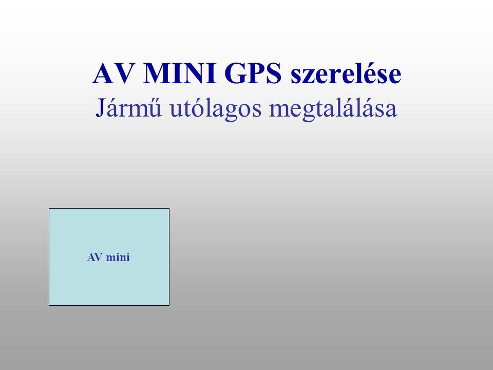 """AV MINI GPS kezelése Jármű helyzetének és állapotának lekérdezése •Parancs """"? •RSZT: BE •GYJT: KI •EPRT: KI •STOP: KI •GPS: KI •POZ:4721.72948,N,01906.01672,E."""