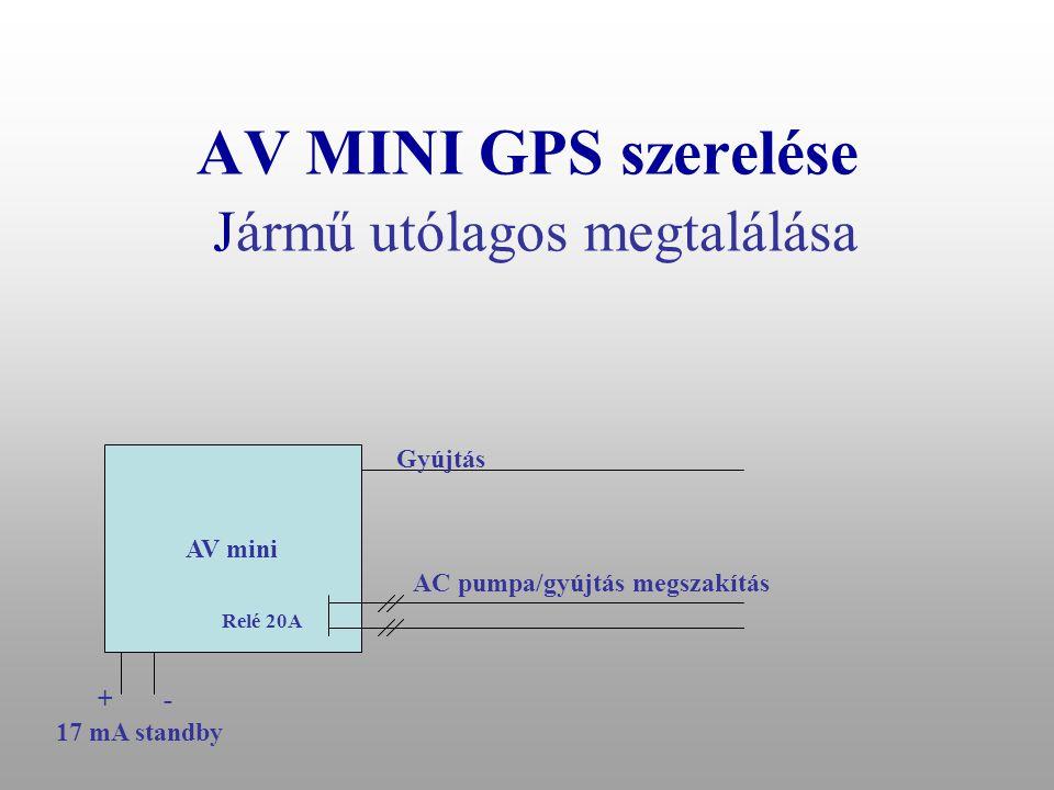 AV MINI GPS szerelése Jármű utólagos megtalálása AV mini Gyújtás +- 17 mA standby +