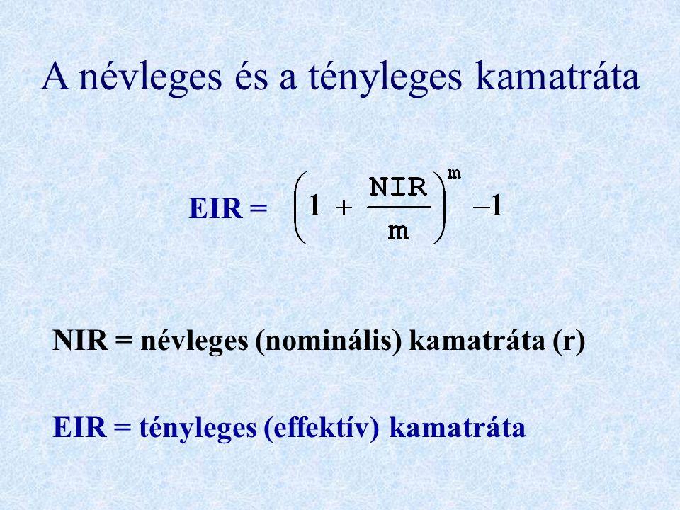A névleges és a tényleges kamatráta EIR = NIR = névleges (nominális) kamatráta (r) EIR = tényleges (effektív) kamatráta
