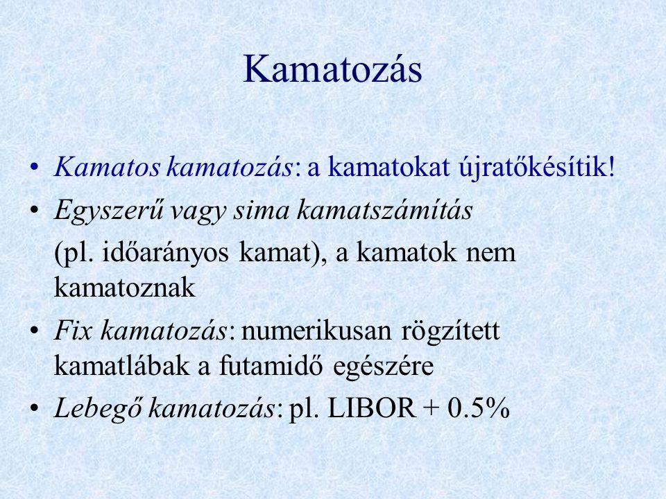 Kamatozás •Kamatos kamatozás: a kamatokat újratőkésítik! •Egyszerű vagy sima kamatszámítás (pl. időarányos kamat), a kamatok nem kamatoznak •Fix kamat