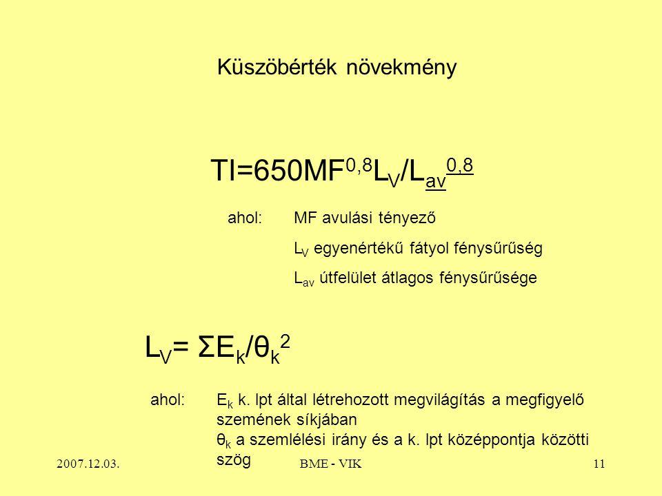 2007.12.03.BME - VIK11 Küszöbérték növekmény TI=650MF 0,8 L V /L av 0,8 ahol: MF avulási tényező L V egyenértékű fátyol fénysűrűség L av útfelület átlagos fénysűrűsége L V = ΣE k /θ k 2 ahol:E k k.
