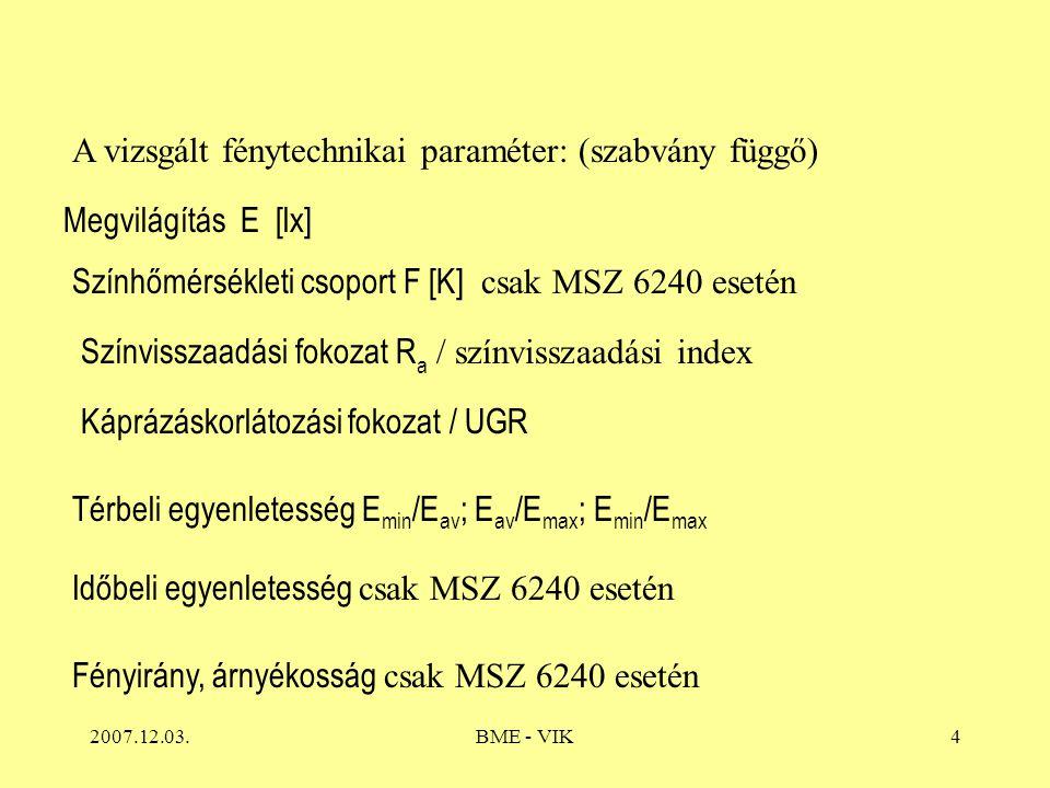 2007.12.03.BME - VIK4 A vizsgált fénytechnikai paraméter: (szabvány függő) Megvilágítás E [lx] Színhőmérsékleti csoport F [K] csak MSZ 6240 esetén Színvisszaadási fokozat R a / színvisszaadási index Káprázáskorlátozási fokozat / UGR Térbeli egyenletesség E min /E av ; E av /E max ; E min /E max Időbeli egyenletesség csak MSZ 6240 esetén Fényirány, árnyékosság csak MSZ 6240 esetén