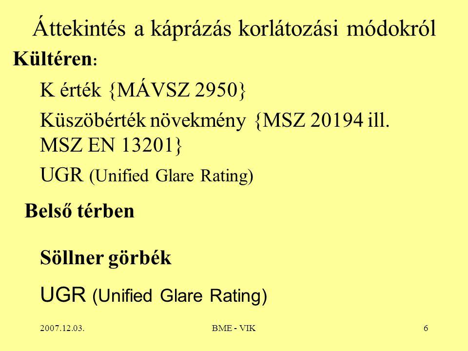 2007.12.03.BME - VIK6 Áttekintés a káprázás korlátozási módokról K érték {MÁVSZ 2950} Küszöbérték növekmény {MSZ 20194 ill.
