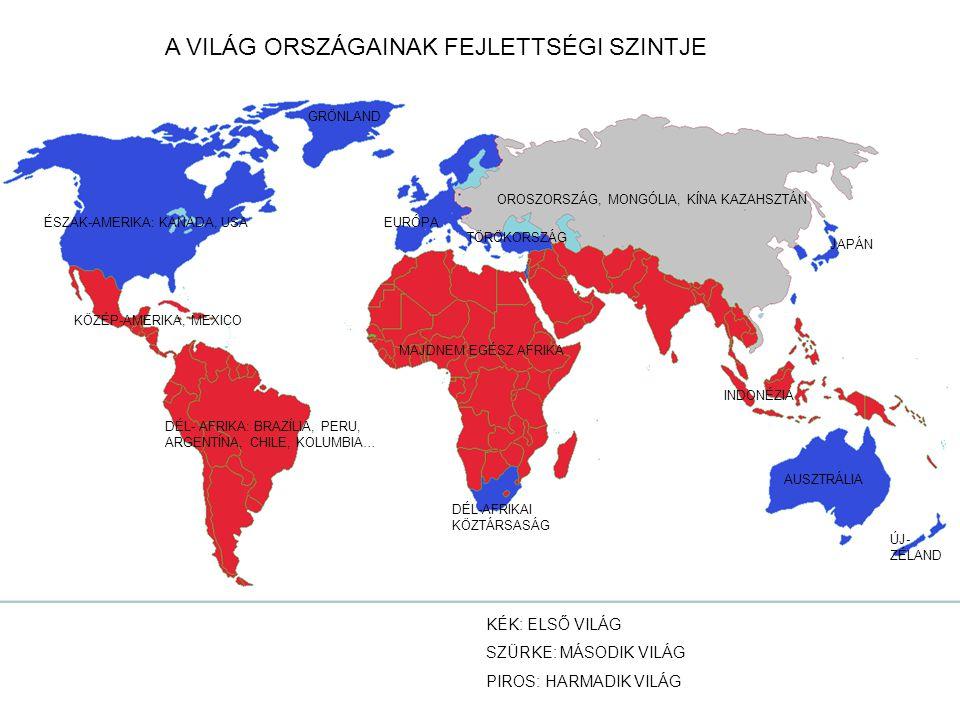AZ EMBERI FEJLETTSÉGRŐL ZÖLD: MAGAS SÁRGA: KÖZEPES PIROS: ALACSONY SZÜRKE: ISMERETLEN ADAT