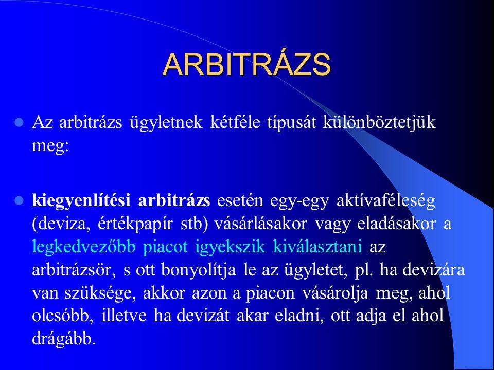 ARBITRÁZS  Az arbitrázs ügyletnek kétféle típusát különböztetjük meg:  kiegyenlítési arbitrázs esetén egy-egy aktívaféleség (deviza, értékpapír stb)
