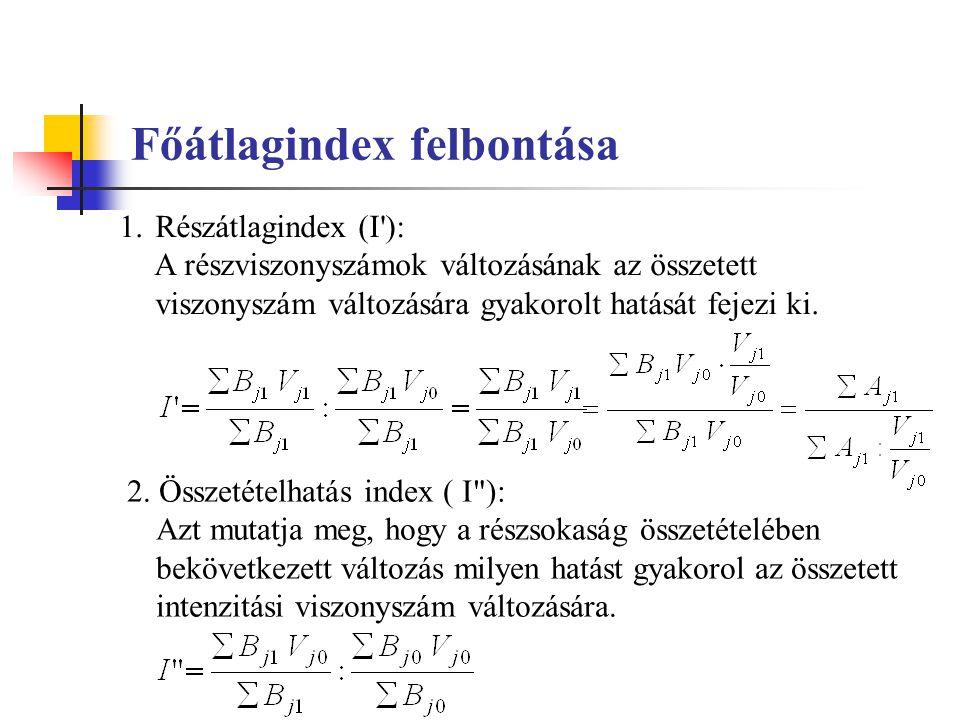 Főátlagindex felbontása 1.Részátlagindex (I'): A részviszonyszámok változásának az összetett viszonyszám változására gyakorolt hatását fejezi ki. 2. Ö