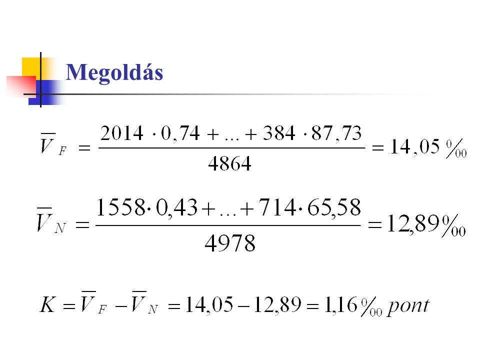 Volumenindex-számítás egyedi volumenindexekből, ahol a súlyok a bázisidőszaki értékadatok, átlagolandó értékek az egyedi volumenindexek, ahol a súlyok a tárgyidőszaki értékadatok, átlagolandó értékek az egyedi volumenindexek