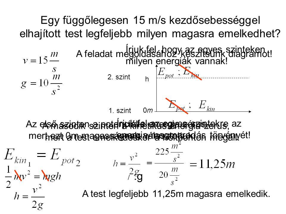 Egy függőlegesen 15 m/s kezdősebességgel elhajított test legfeljebb milyen magasra emelkedhet? A feladat megoldásához készítsünk diagramot! 0m0m h 1.