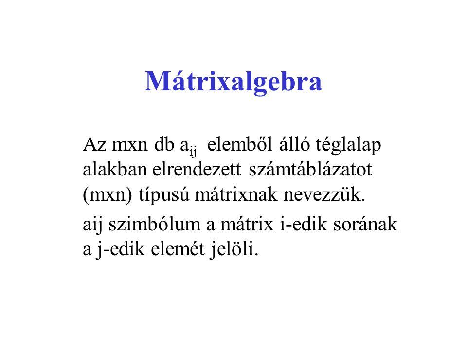 Mátrixalgebra Az mxn db a ij elemből álló téglalap alakban elrendezett számtáblázatot (mxn) típusú mátrixnak nevezzük. aij szimbólum a mátrix i-edik s