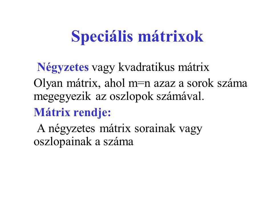 Speciális mátrixok Négyzetes vagy kvadratikus mátrix Olyan mátrix, ahol m=n azaz a sorok száma megegyezik az oszlopok számával. Mátrix rendje: A négyz