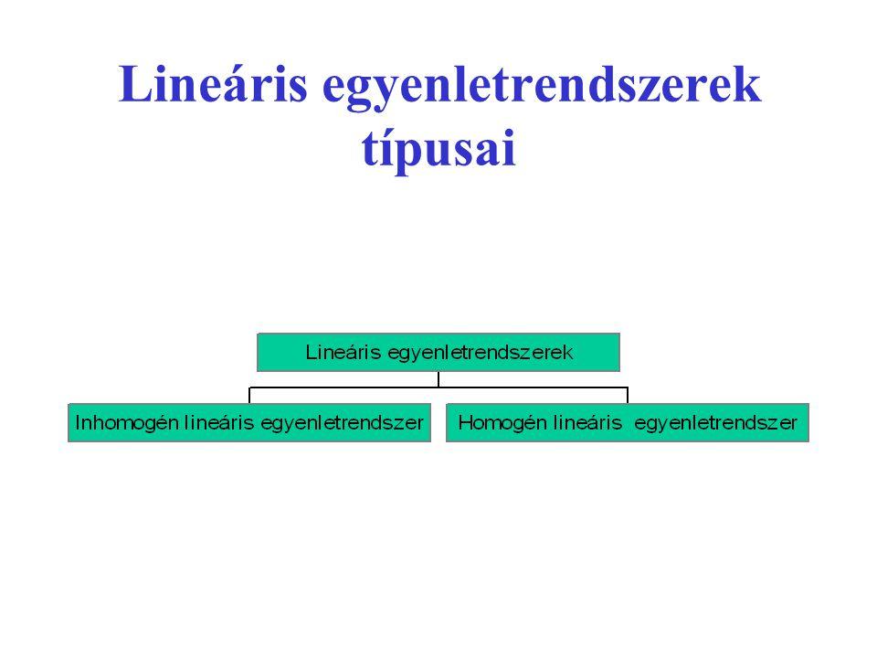 •Ha a jobb oldalon lévő b 1, b 2, ……..b m számok mindegyike zérus, akkor homogén lineáris egyenletrendszerről beszélünk.
