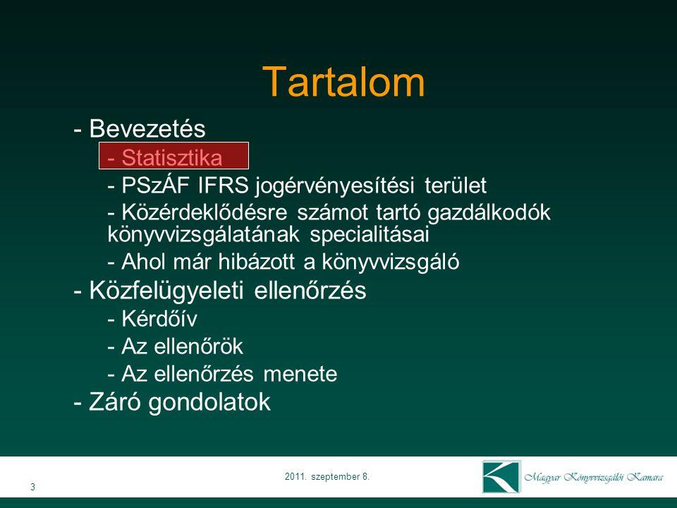 3 2011. szeptember 8. Tartalom - Bevezetés - Statisztika - PSzÁF IFRS jogérvényesítési terület - Közérdeklődésre számot tartó gazdálkodók könyvvizsgál