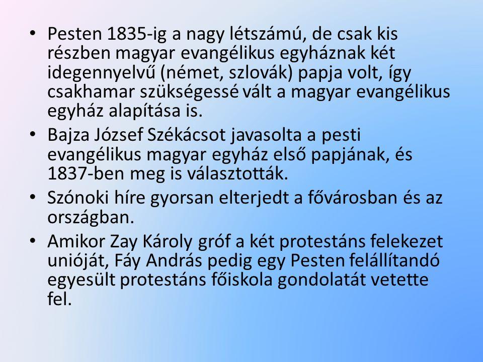 • Pesten 1835-ig a nagy létszámú, de csak kis részben magyar evangélikus egyháznak két idegennyelvű (német, szlovák) papja volt, így csakhamar szükségessé vált a magyar evangélikus egyház alapítása is.
