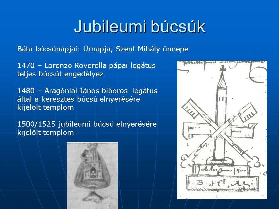 Jubileumi búcsúk Báta búcsúnapjai: Úrnapja, Szent Mihály ünnepe 1470 – Lorenzo Roverella pápai legátus teljes búcsút engedélyez 1480 – Aragóniai János