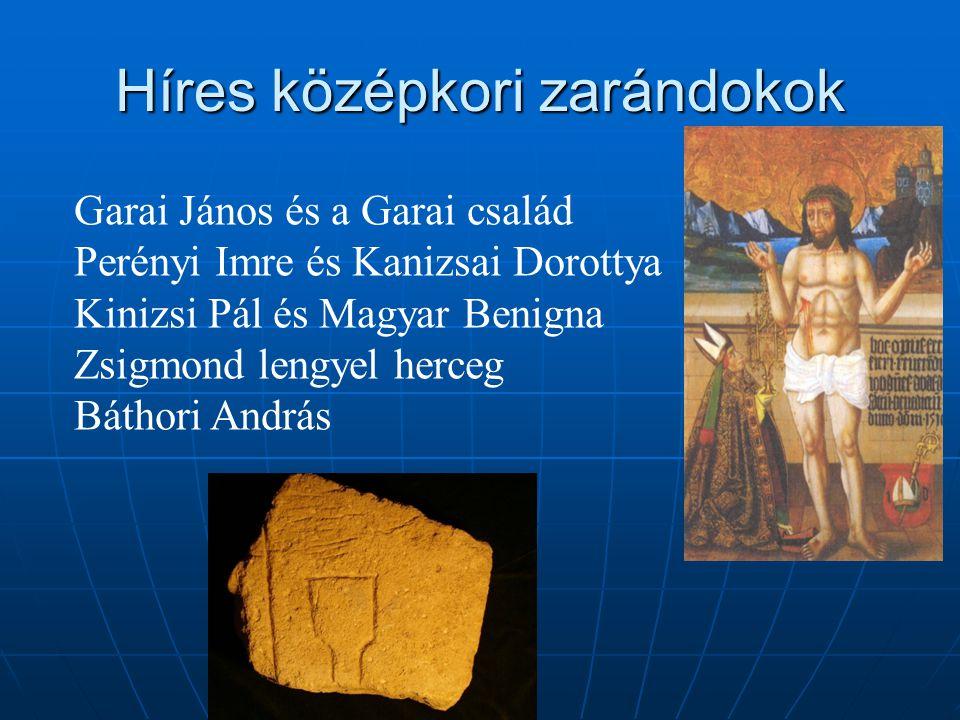 Híres középkori zarándokok Garai János és a Garai család Perényi Imre és Kanizsai Dorottya Kinizsi Pál és Magyar Benigna Zsigmond lengyel herceg Bátho