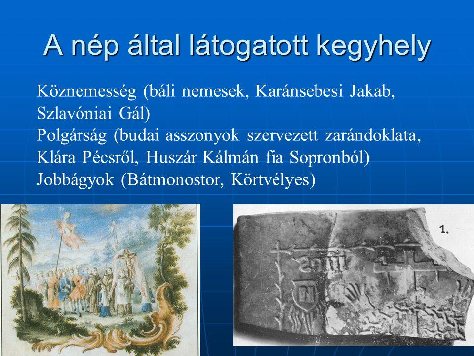 A nép által látogatott kegyhely Köznemesség (báli nemesek, Karánsebesi Jakab, Szlavóniai Gál) Polgárság (budai asszonyok szervezett zarándoklata, Klár