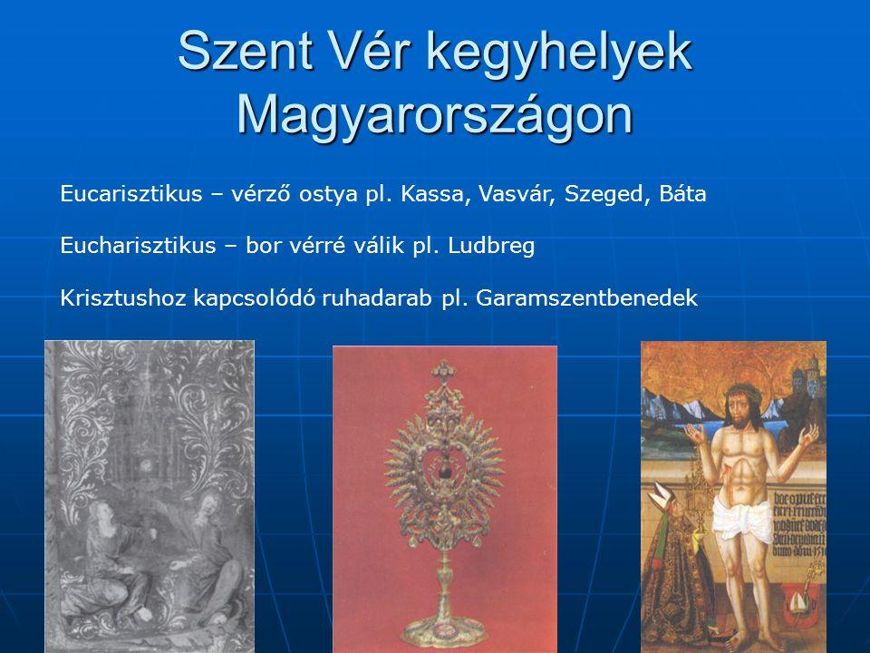 """Báta ismertté válik  Szent Vér csoda  1411 – Rozgonyi Simon országbíró """"minden utazónak, kereskedőnek, vásározónak és zarándoknak szabad közlekedést biztosítunk a bátai egyház határai között  1415 – Thuróczi krónika """"Garai János kiszabadulva a fogságból roppant nehéz bilincseit Bátára vitte, ott tett fogadalmának beváltásaként, a mi Urunk és Megváltónk drága vérének dicsőségére  1420 – kolozsmonostori konvent Egy vezeklőnek """"Krisztus drága vérének bátai küszöbéhez kellett zarándokolni penitenciaként"""