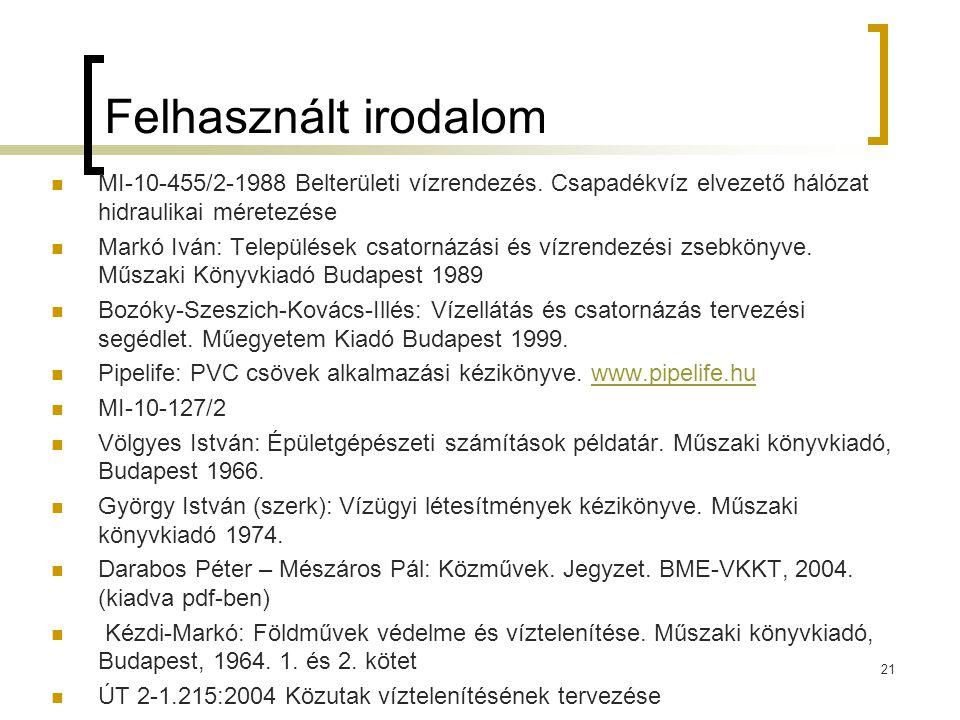 21 Felhasznált irodalom  MI-10-455/2-1988 Belterületi vízrendezés. Csapadékvíz elvezető hálózat hidraulikai méretezése  Markó Iván: Települések csat