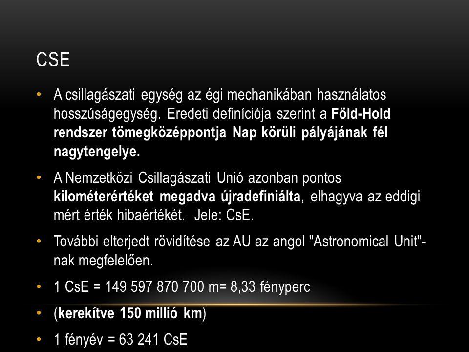 CSE • A csillagászati egység az égi mechanikában használatos hosszúságegység. Eredeti definíciója szerint a Föld-Hold rendszer tömegközéppontja Nap kö