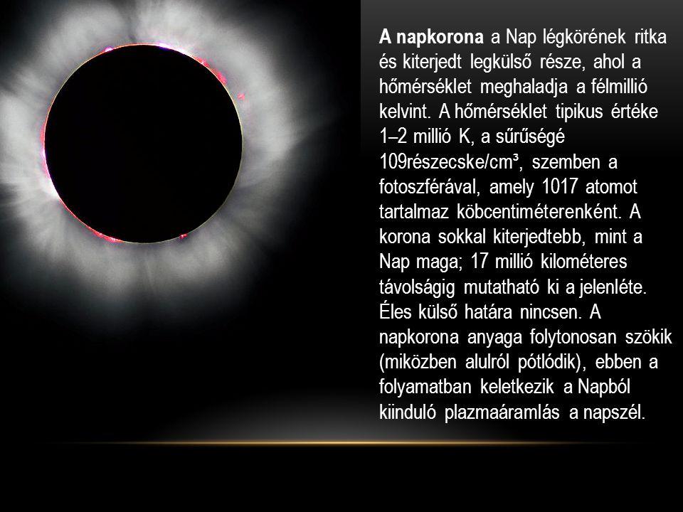 • A napkorona a Nap légkörének ritka és kiterjedt legkülső része, ahol a hőmérséklet meghaladja a félmillió kelvint.