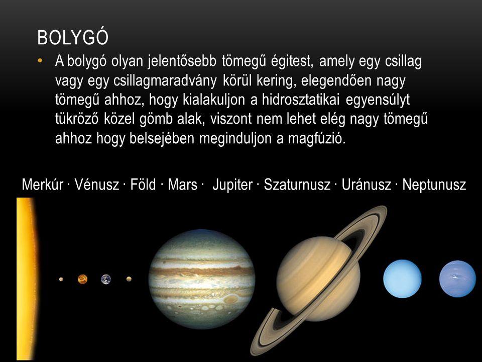 BOLYGÓ • A bolygó olyan jelentősebb tömegű égitest, amely egy csillag vagy egy csillagmaradvány körül kering, elegendően nagy tömegű ahhoz, hogy kialakuljon a hidrosztatikai egyensúlyt tükröző közel gömb alak, viszont nem lehet elég nagy tömegű ahhoz hogy belsejében meginduljon a magfúzió.