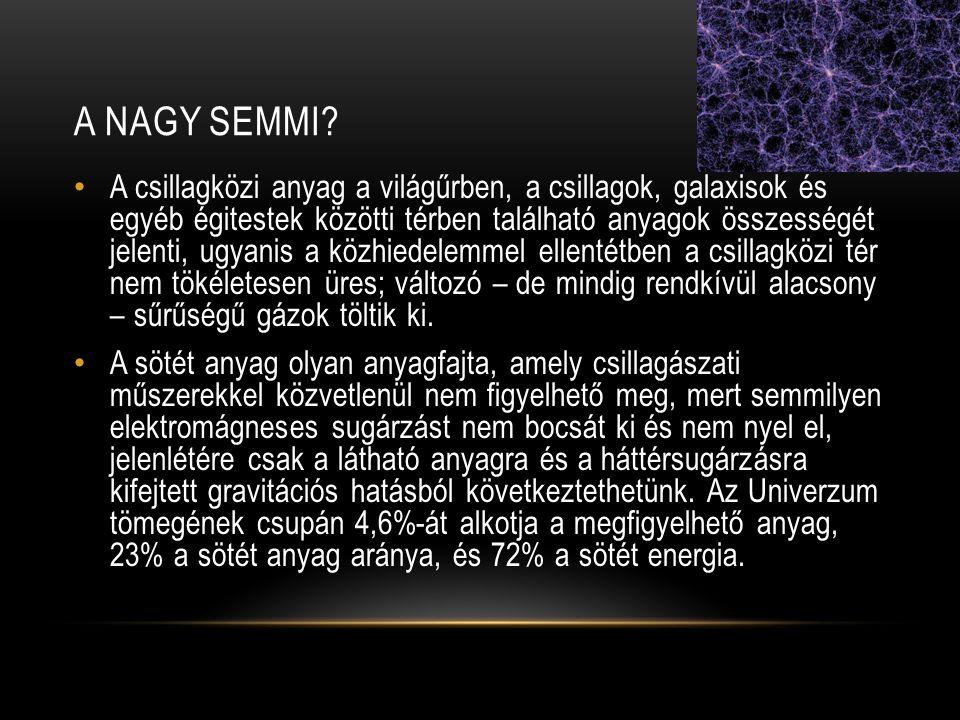 A NAGY SEMMI? • A csillagközi anyag a világűrben, a csillagok, galaxisok és egyéb égitestek közötti térben található anyagok összességét jelenti, ugya