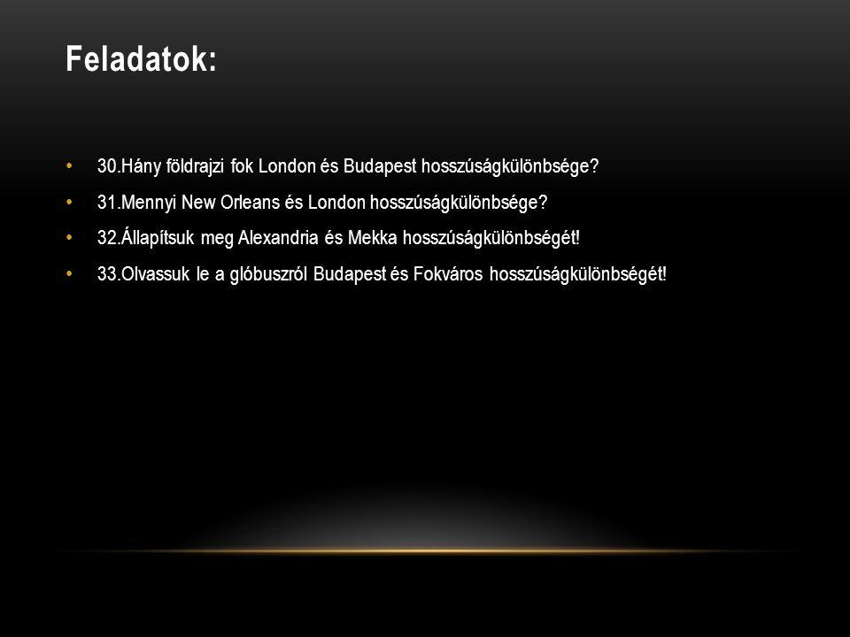 Feladatok: • 30.Hány földrajzi fok London és Budapest hosszúságkülönbsége? • 31.Mennyi New Orleans és London hosszúságkülönbsége? • 32.Állapítsuk meg