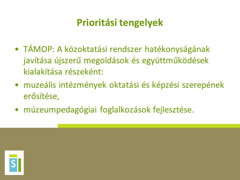 Prioritási tengelyek •TÁMOP: A közoktatási rendszer hatékonyságának javítása újszerű megoldások és együttműködések kialakítása részeként: •muzeális intézmények oktatási és képzési szerepének erősítése, •múzeumpedagógiai foglalkozások fejlesztése.