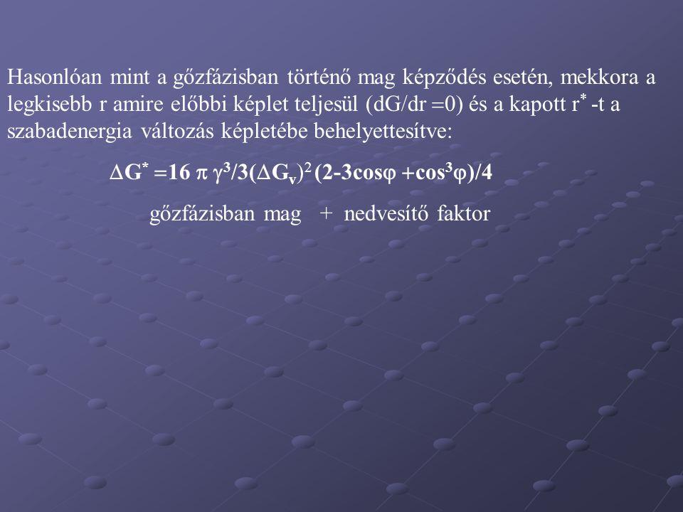 Hasonlóan mint a gőzfázisban történő mag képződés esetén, mekkora a legkisebb r amire előbbi képlet teljesül (dG/dr  0) és a kapott r * -t a szabaden
