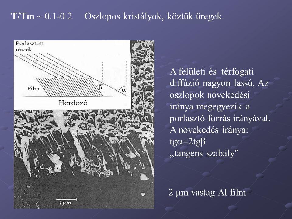 T/Tm ~ 0.1-0.2 Oszlopos kristályok, köztük üregek. A felületi és térfogati diffúzió nagyon lassú. Az oszlopok növekedési iránya megegyezik a porlasztó