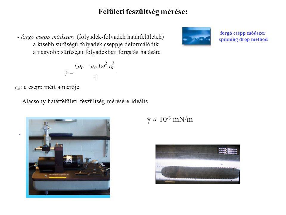 Felületi feszültség mérése: - forgó csepp módszer: (folyadék-folyadék határfelületek) a kisebb sűrűségű folyadék cseppje deformálódik a nagyobb sűrűsé