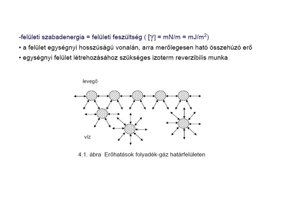 Felületi feszültség hőmérsékletfüggése Eötvös törvény: k E Eötvös állandó T krit kritikus hőmérséklet ideális eset eltérés: - asszociálódó molekulák - határfelületen orientációs rendezettséget mutató molekulák Eötvös törvény csak azon hőmérséklet fölött érvényes, ahol ez az asszociáció ill.