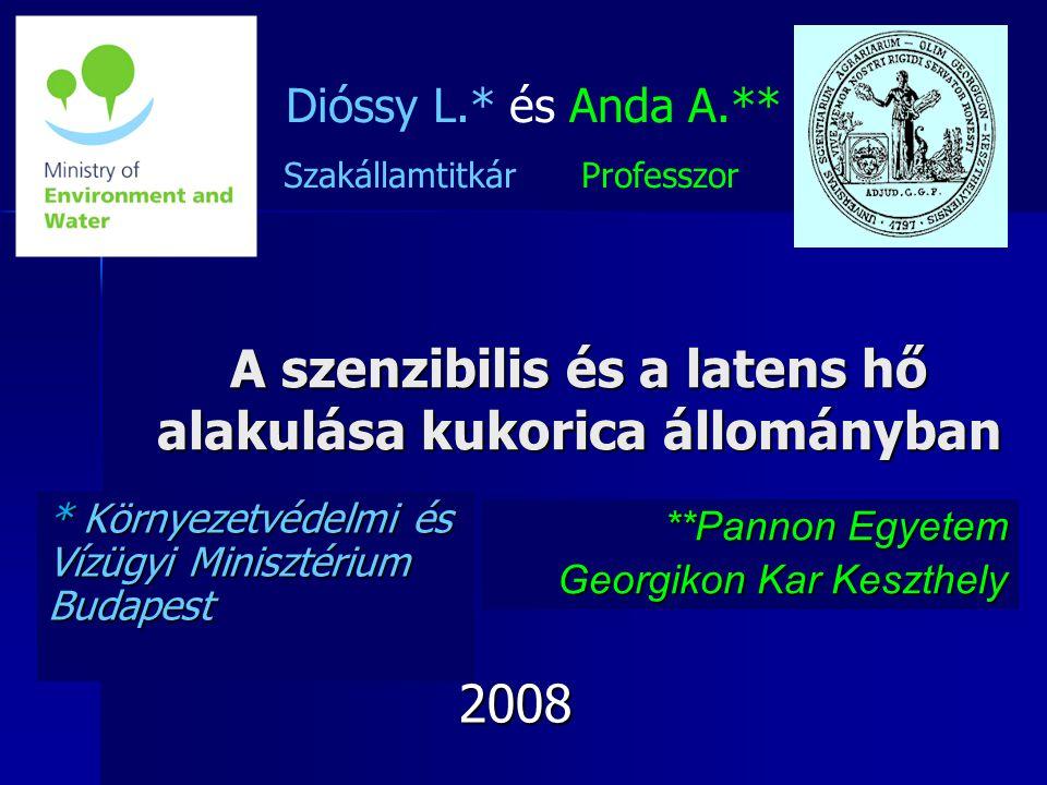 A szenzibilis és a latens hő alakulása kukorica állományban * Környezetvédelmi és Vízügyi Minisztérium Budapest Dióssy L.* és Anda A.** Szakállamtitkár Professzor **Pannon Egyetem Georgikon Kar Keszthely 2008 2008