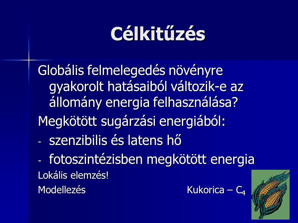 Célkitűzés Globális felmelegedés növényre gyakorolt hatásaiból változik-e az állomány energia felhasználása? Megkötött sugárzási energiából: - szenzib