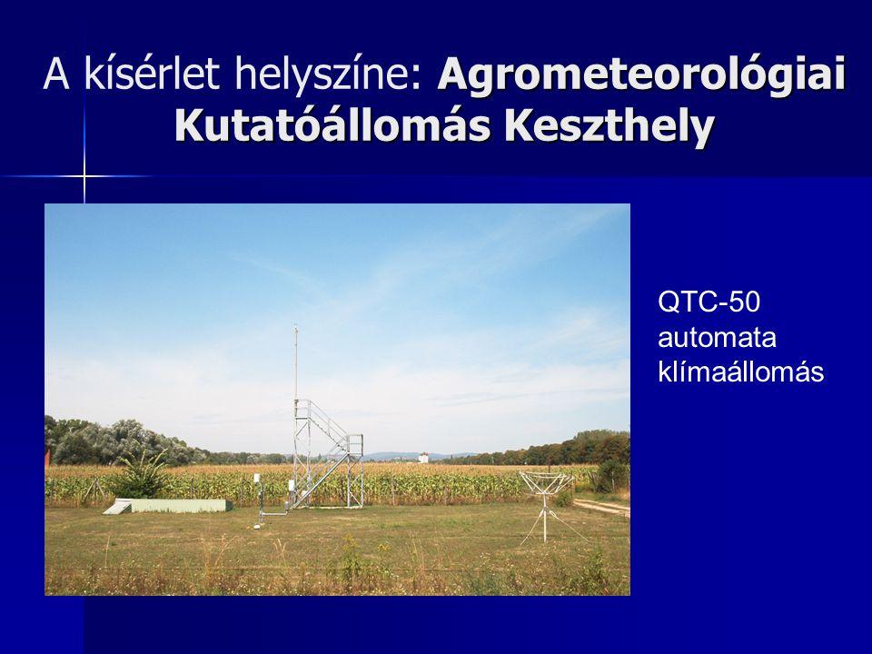 Agrometeorológiai Kutatóállomás Keszthely A kísérlet helyszíne: Agrometeorológiai Kutatóállomás Keszthely QTC-50 automata klímaállomás