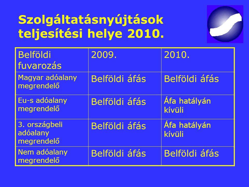 Szolgáltatásnyújtások teljesítési helye 2010. Belföldi fuvarozás 2009.2010. Magyar adóalany megrendelő Belföldi áfás Eu-s adóalany megrendelő Belföldi