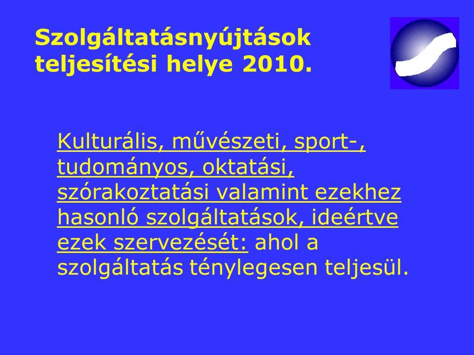 Szolgáltatásnyújtások teljesítési helye 2010. Kulturális, művészeti, sport-, tudományos, oktatási, szórakoztatási valamint ezekhez hasonló szolgáltatá