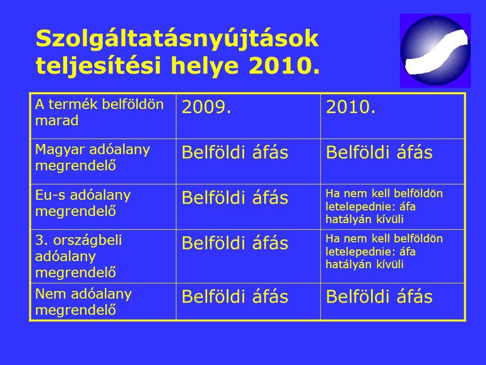 Szolgáltatásnyújtások teljesítési helye 2010. A termék belföldön marad 2009.2010. Magyar adóalany megrendelő Belföldi áfás Eu-s adóalany megrendelő Be