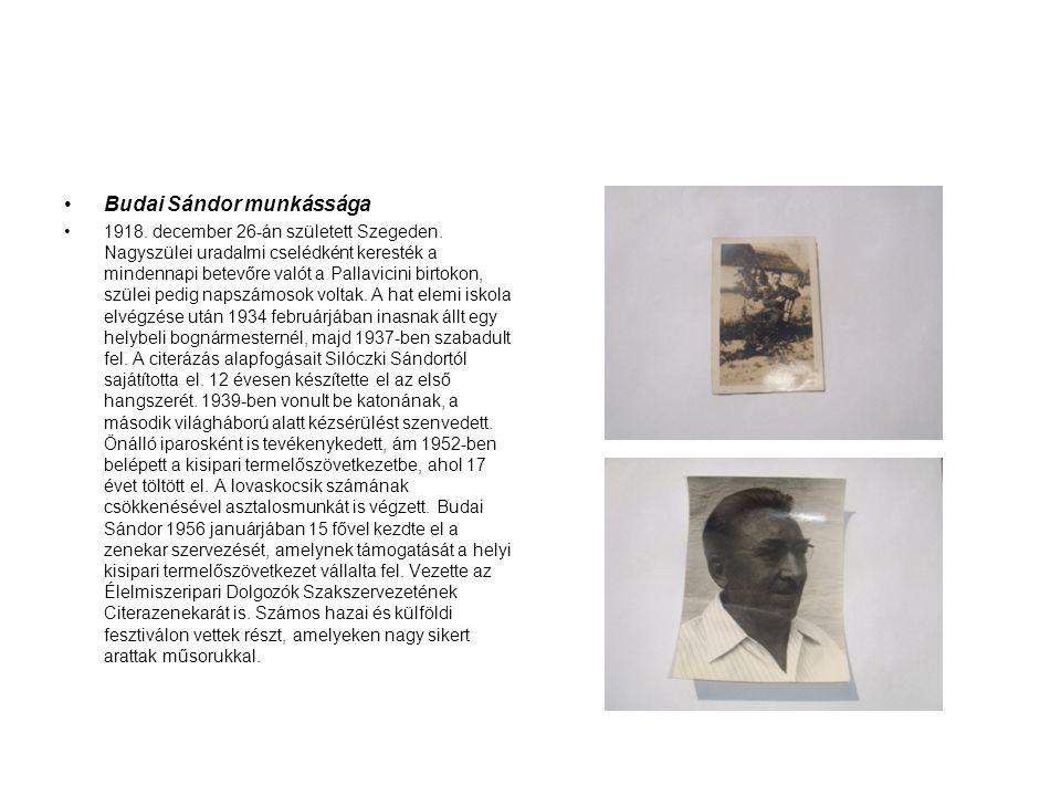 •Budai Sándor munkássága •1918. december 26-án született Szegeden. Nagyszülei uradalmi cselédként keresték a mindennapi betevőre valót a Pallavicini b